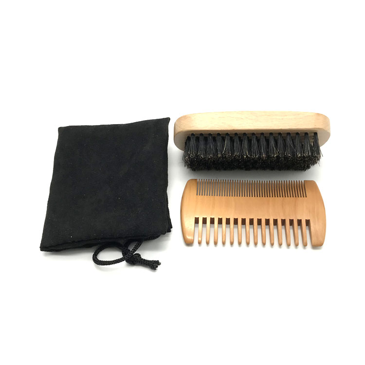 Amazon hot sale beard brush and comb set with custom packaging