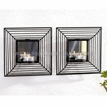 China wall hanging candle holder with mirror set of 2