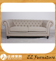 100%factory french country style provincial button sofa Living Room Tufted Linen Fabric Chesterfield Sofa