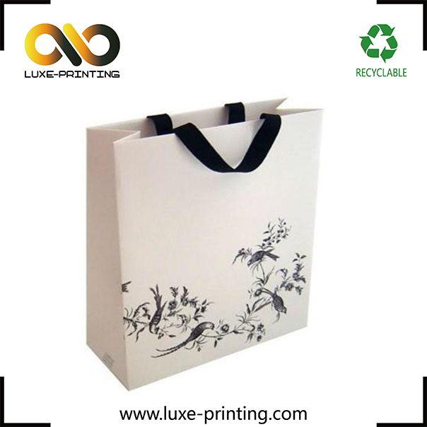 Birds printed beautiful pattern matte lamination ribbon handle paper bag