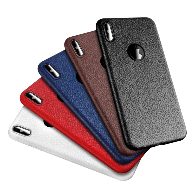 Ultra Thin Lychee Grain TPU Soft Phone Case For Iphone X 8 plus 7 plus 6 6s <strong>Cover</strong> With Logo Hole
