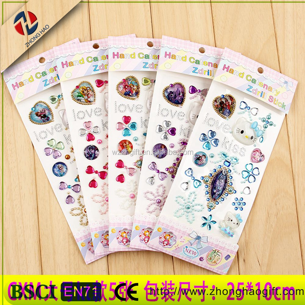 Bling Bling Diy Top Sale Oval- shaped Easy Peel Off Non-toxic Craft Gem Stickers