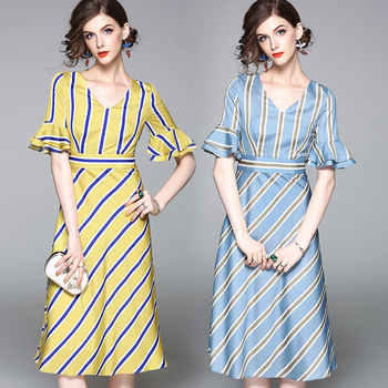 Lastest high-end women's clothing, V collar short sleeved waist long dress