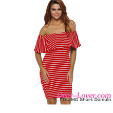 Dear-lover Red White Striped Off-shoulder Bodycon Dress