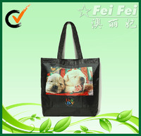 210D black polyester handbags for shopping with doggy photo