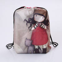 Girls cute design polyester drawstring bag/school backpack bag