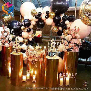 Metal trumpet flower vase stage hotel banquet event party decoration metal Stainless Steel glass resin flower stand designs