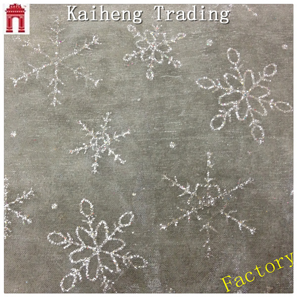 New design snowflake pattern glitter mesh fabric for wedding /100% polyester/ tulle mesh fabric for dress