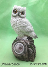 Outdoor decorative resin owl solar powered garden ornaments