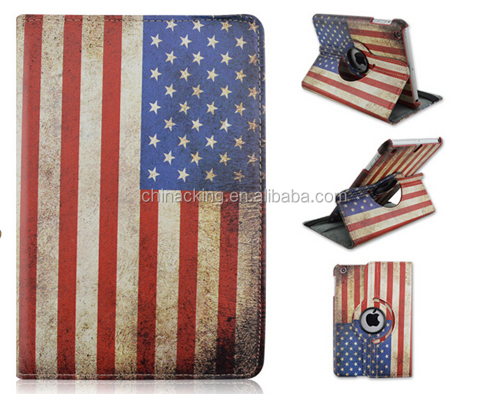 Rotating stand leather tablet pc case for IPad