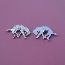 metalic high relief silver running horse magnetic lapel pins custom