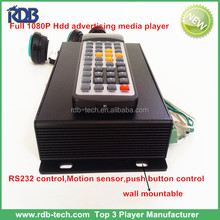 RDB Wall mountable full 1080P Hdd advertising media player with RS232 control,Motion sensor,push button control DS005-48