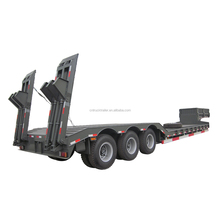 Step wise 3 axle 40 ton flatbed lowbed semi truck trailer for sale