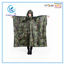 High quality pvc rain poncho / Safe adult military camo raincoat
