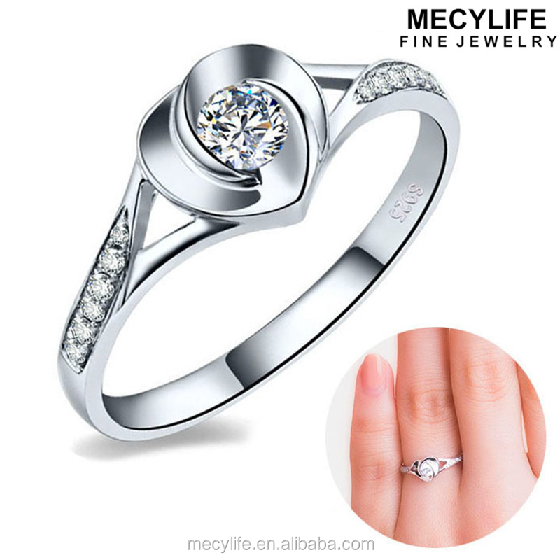 MECYLIFE Luxury Elegant Heart 18K White Gold Plated Solid Silver Celebrity Engagement Rings