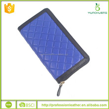 Quilted Royal Blue Fashion Genuine Cowhide Leather Long Zipper Wallet, Wallet Leather Case