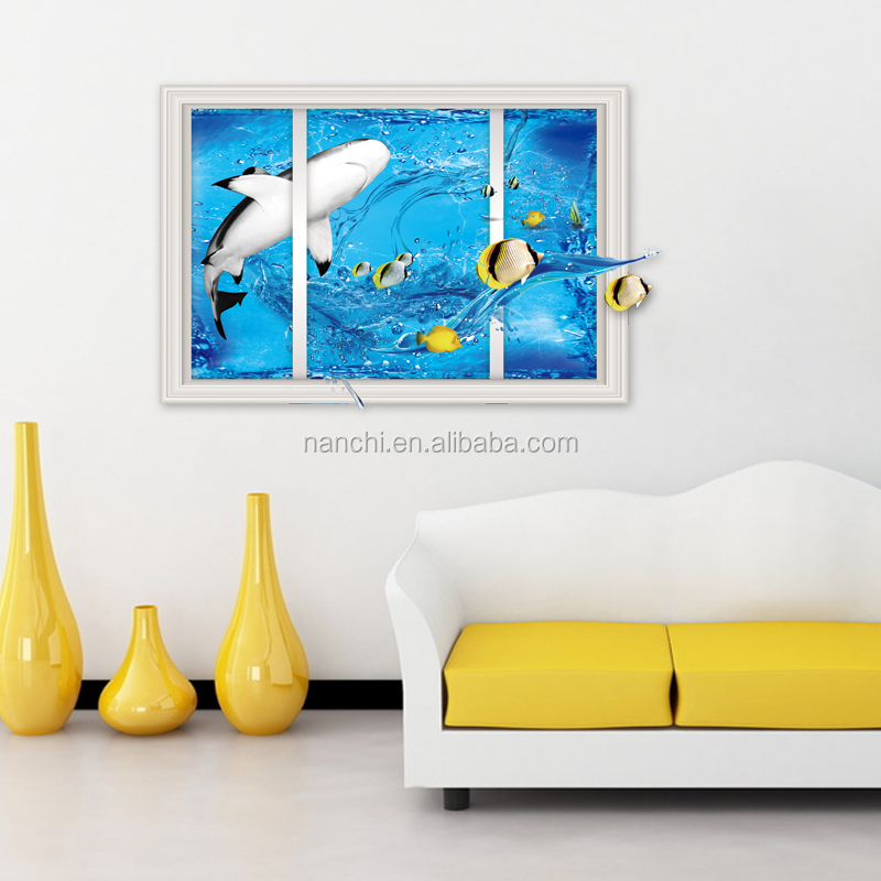 Interesting 3D shark window wall stickers for bedroom living room home children rooms decoration diy waterproof wall stickers