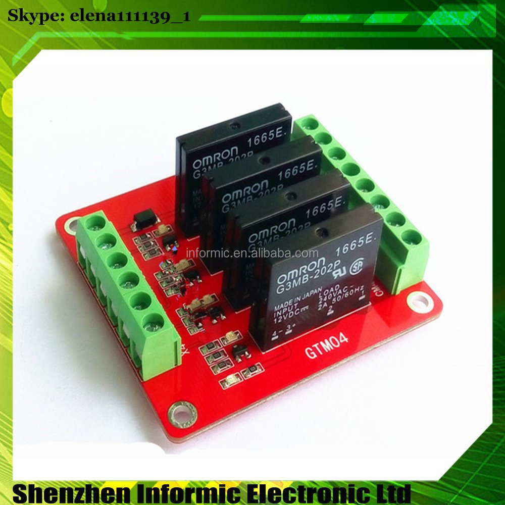 4 channel solid state relay module extended board high level trigger with fuse 5V, 12V, 24V optional