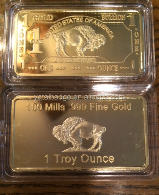 100 mills 999 fine Gold silver 1troy ounce bar