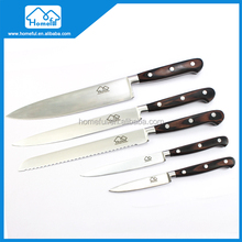 French style design 5 Piece Stainless Steel kitchen knife set with Pakkawood handle