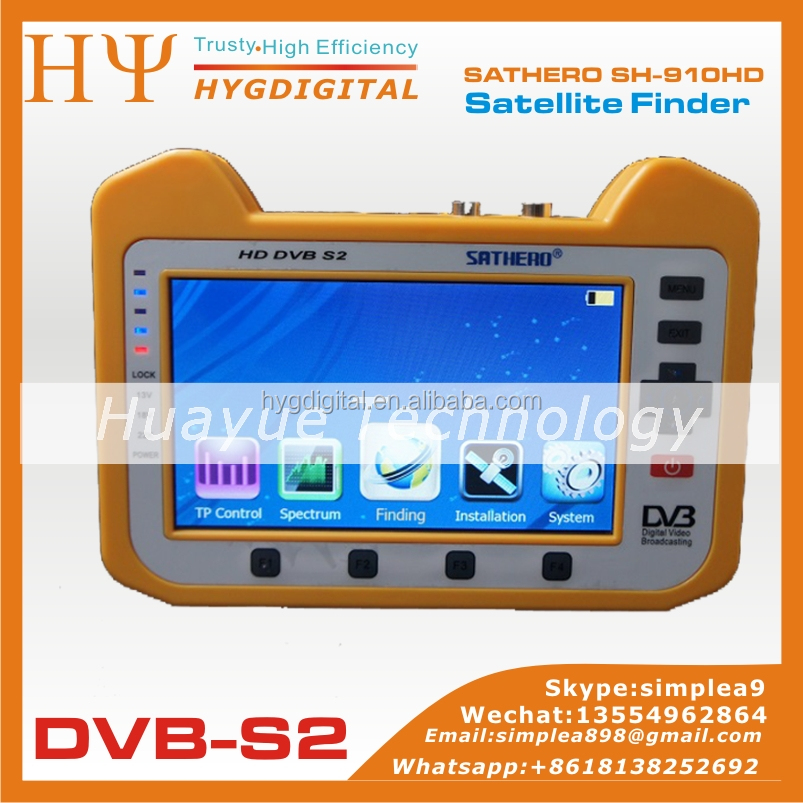 Professional digital satellite finder SH-910HD satellite TV signal meter SATHERO sat meter for Ku band C band dish