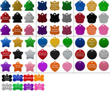 Pet ID Tags, 8 Shapes & Colors to Choose From Dog Cat Aluminum