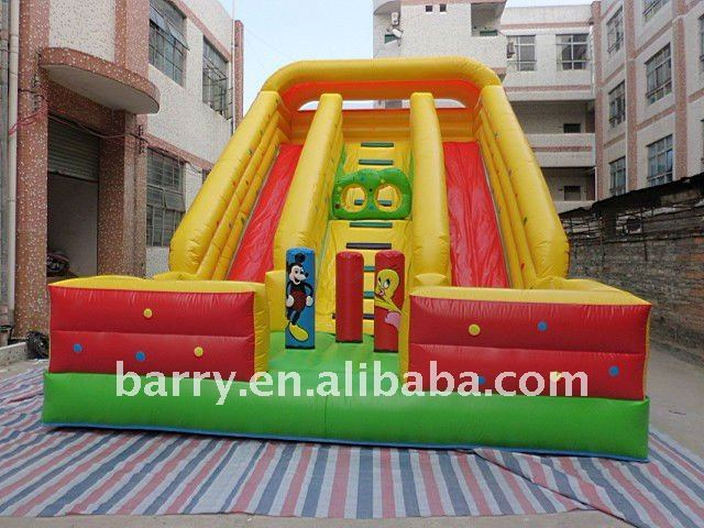 2013 durable outdoor Inflatable double lines water slide