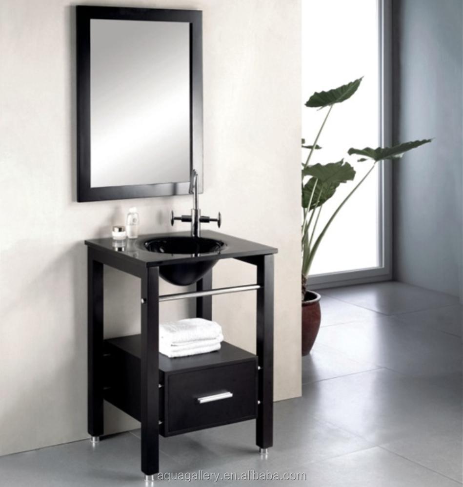 Oak Floor Standing Bathroom Cabinets : Floor standing solid wood bathroom vanity with towel rail
