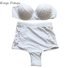 wholesale eyelet work Push Up halter High Waist White color backless bikini swimwear 2016 sexy