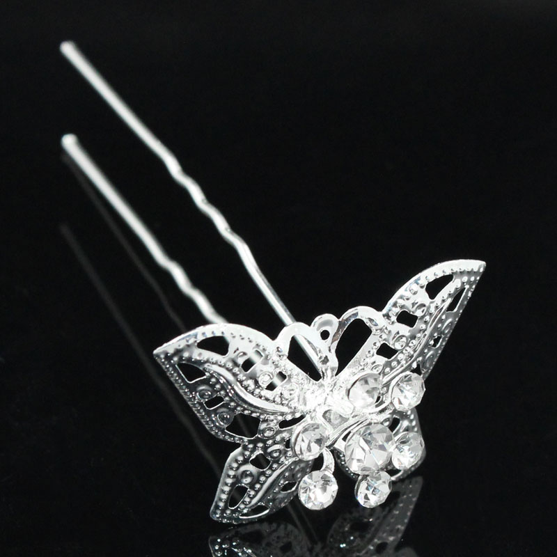 Accessories Wedding Silver Plated White Rhinestone Butterfly Filigree Flower Hair Pins