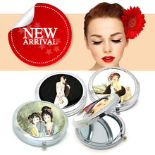 cheap promotion personalized cosmetics makeup professional round pocket mirror