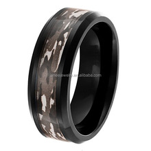 Wholesale Black Mens Tungsten Band Military Camo Grain Inlay Wedding Rings