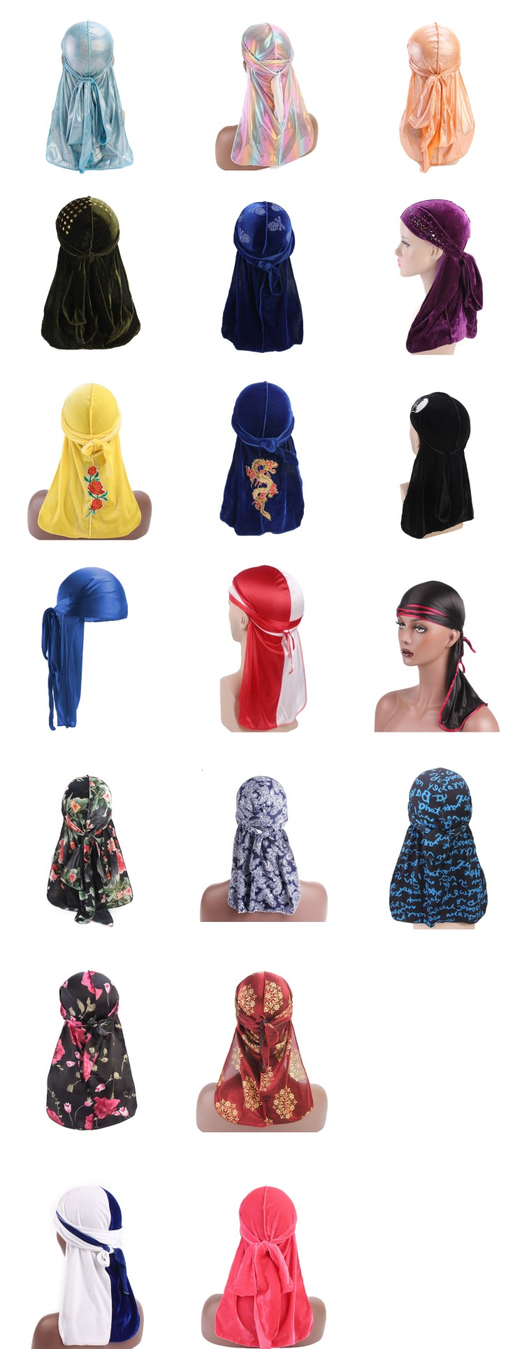 premium red bandanas holographic laser printing colored durags for men