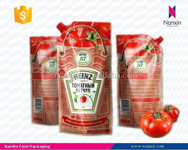 ketchup packaging plastic stand up pouch with corner spout