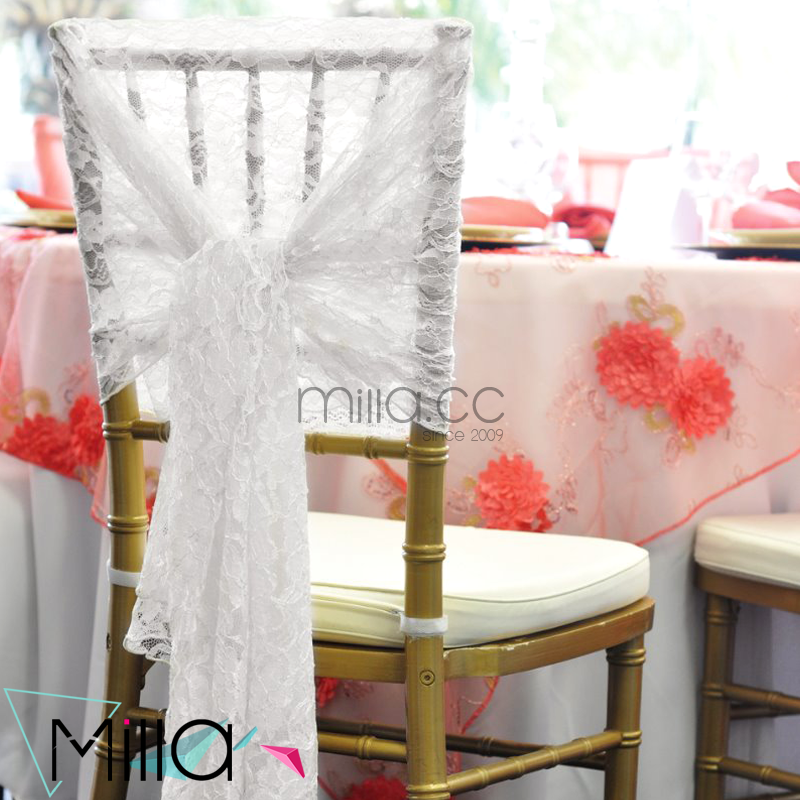 Lace chair covers sashes