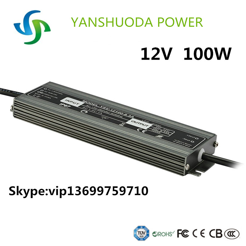 DC 100w 12v constant voltage outdoor waterproof ip67 slim led switching power supply