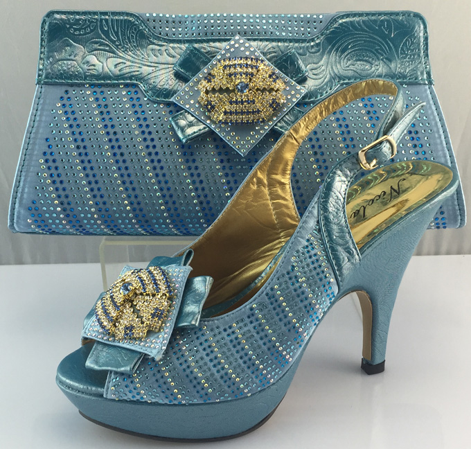 AB6190#2 Wholesale blue italian shoes and bag set,african shoes and bags to match women