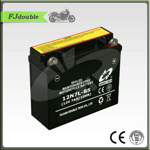 Dry charged sealed maintence free motorcycle battery 12N7L-BS