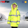 high visibility children winter coat with concealed hood