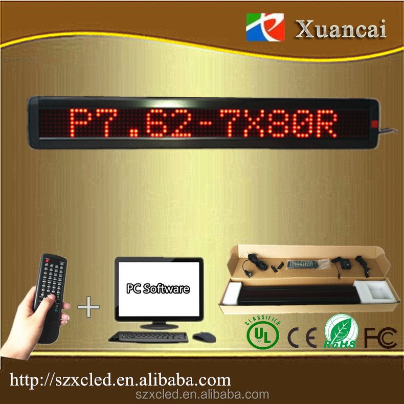 Promotion! M500N-780R(P7.62-7x80Red) 5VDC100-240V AC use programmable led moving message display scrolling text sign panel board