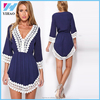 Women Lace Patchwork Medium Waist O-Neck Half Sleeve Beautiful medium sleeve lace patchwork Party Cocktail Slim Dress