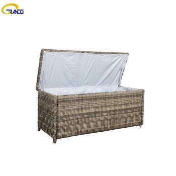 Good quality rattan wicker garden cushion storage box rattan outdoor wicker cushion box