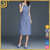 Clothes manufacturer fashion women designs blue linen plain V neck casual shirt dress