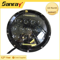 "ROHS PC SUV cars 10V high low beam 75 watts 7"" led halo light for Harley davidson"