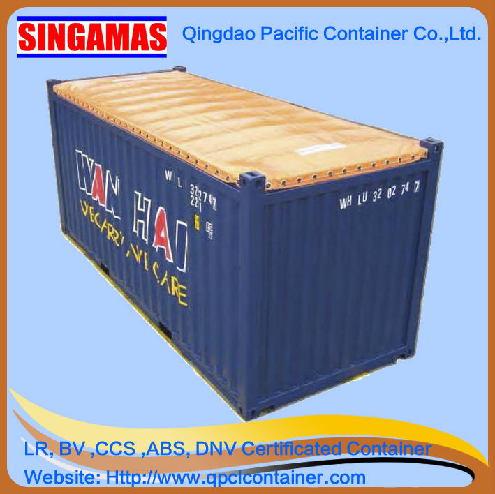 20ft,40ft soft open top container with roof bows and soft tarpaulin