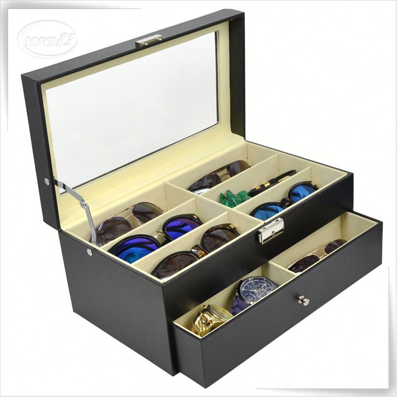 Luxury handmade cumstermized pu leather glasses case for car