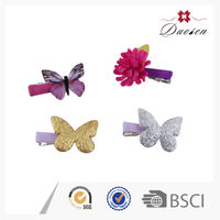 Wholesale 2016 Colorful Terry Shining Leather Artificial Butterfly s Flower Hair Clip for Kids
