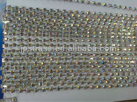 8mm silver base hot fix rhinestone cup chain for shoes