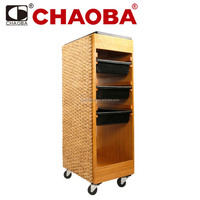 Handcrafted professional wood and rattan salon tool trolley rolling cart SU-2266