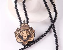 personality punk style lion wood pendant necklace hip hop wood beads animal lion necklace for men fashion jewelry accessories